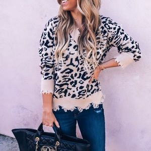 Sweaters - Leopard distressed sweater